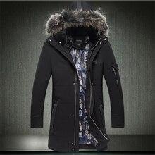 2016 осень и зима мужская вниз парки тик долго дизайн вниз хлопка куртка с меховым воротником ватные куртки плюс размер 6XL