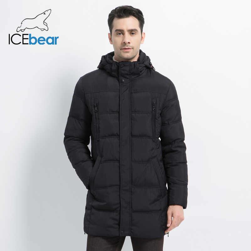 ICEbear 2019 de alta calidad caliente de los hombres grueso medio largo abrigo cálido chaqueta de invierno a prueba de viento Casual OuterwearMen Parka 16M899D