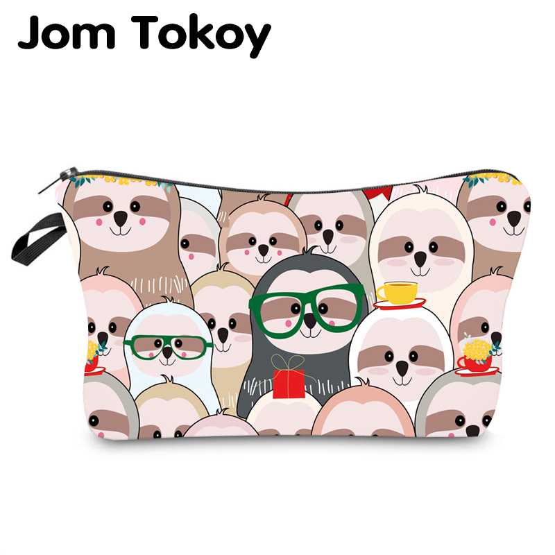 Jom Tokoy Water Resistant Makeup Bag Printing Sloth Cosmetic Bag Lovely Cosmetic Organizer Bag Women Multifunction Beauty Bag951