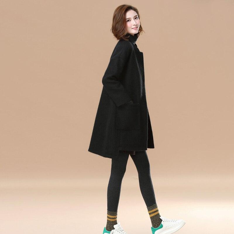 Manteaux Survêtement Col Couleur Femme Ll796 Black fin Solide Femmes 2018 Mode De Nouvelle Moyen Bouton gray Hiver Laine Couverts Long Haut Rond 5wZxUYqOA