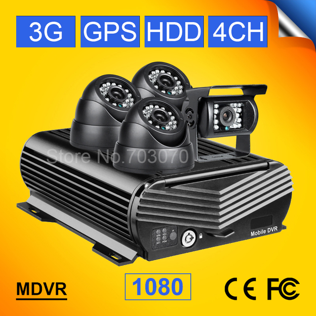 free shipping 3g gps ahd mobile dvr 4ch 1080P hdd hard disk video recorder with 4pcs car cameras max 2tb hard disk 256g sd mdvr