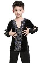 Free shipping 1 piece boys Latin Dance shirt Spandex Boys Ballroom Dance performance shirt Sequins long sleeve shinny