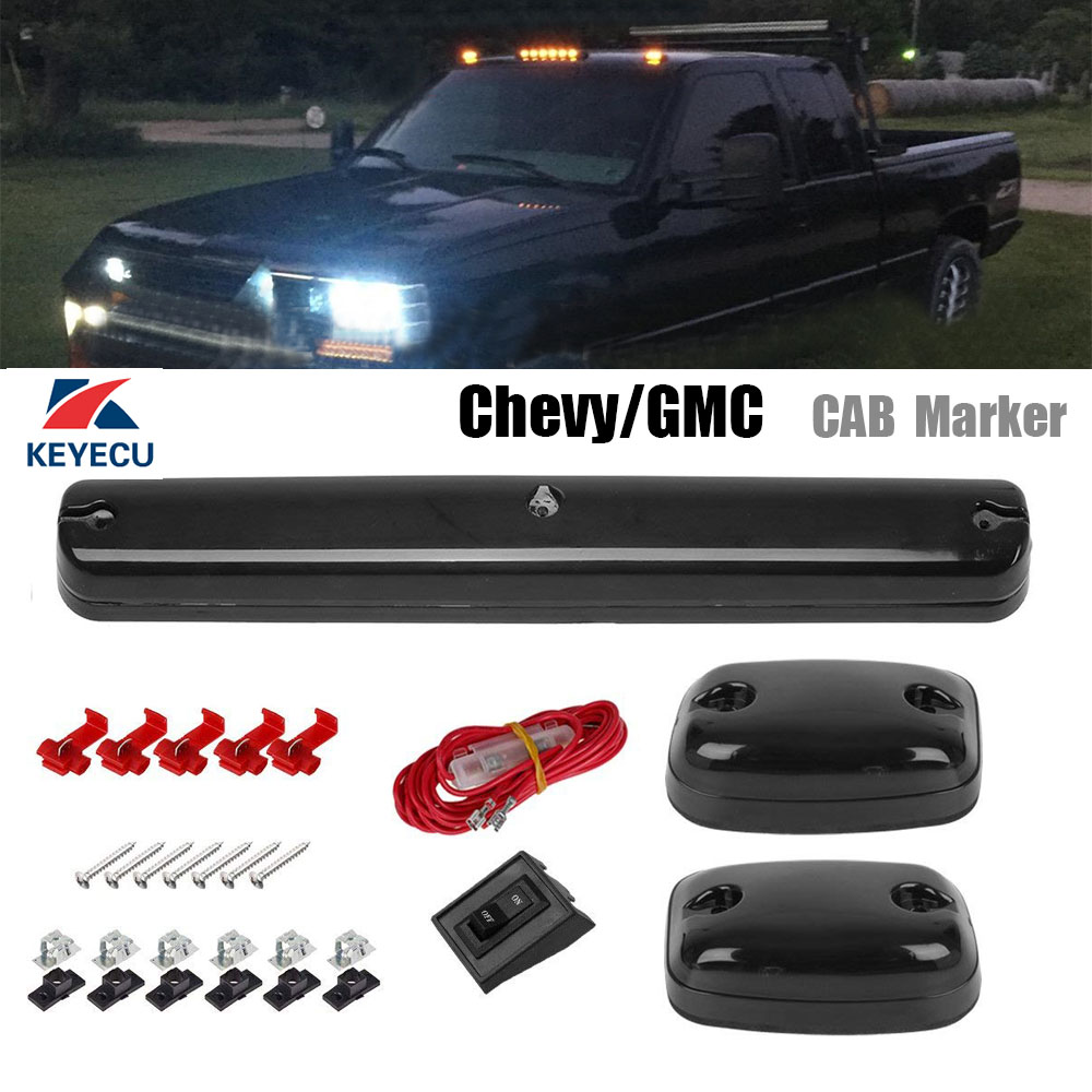 Hot Sale Keyecu 3xsmoke Lens Amber Light 12 Led Cab Marker Roof Top Gmc Wire Harness Lights Assembly For 2007 2013 Chevy Silverado Sierra