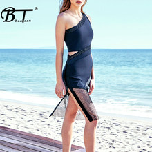 Beateen 2019 New One Shoulder Sleeveless Waist Hollow Out Mesh Embellished Slit Charming Sexy Women Party Mini Dress Black(China)