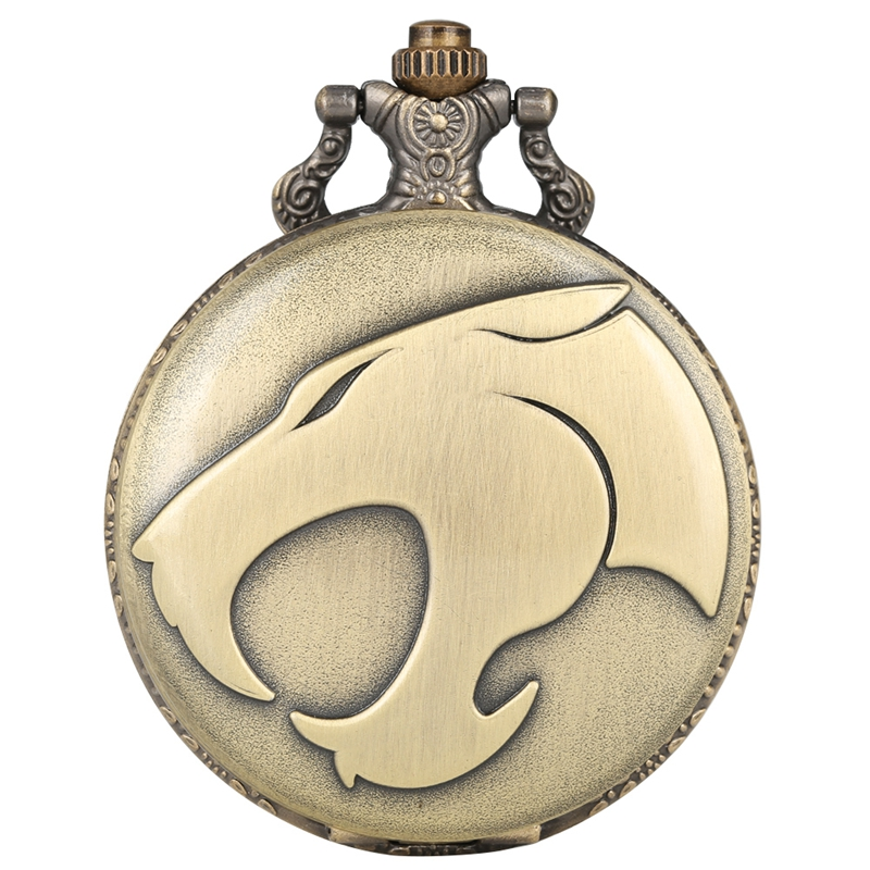 Fiercely Animal Leopard Head Figure Quartz Pocket Watch Retro Necklace Bronze Pendant Chain Watch FOB Clocks Reloj De Madera