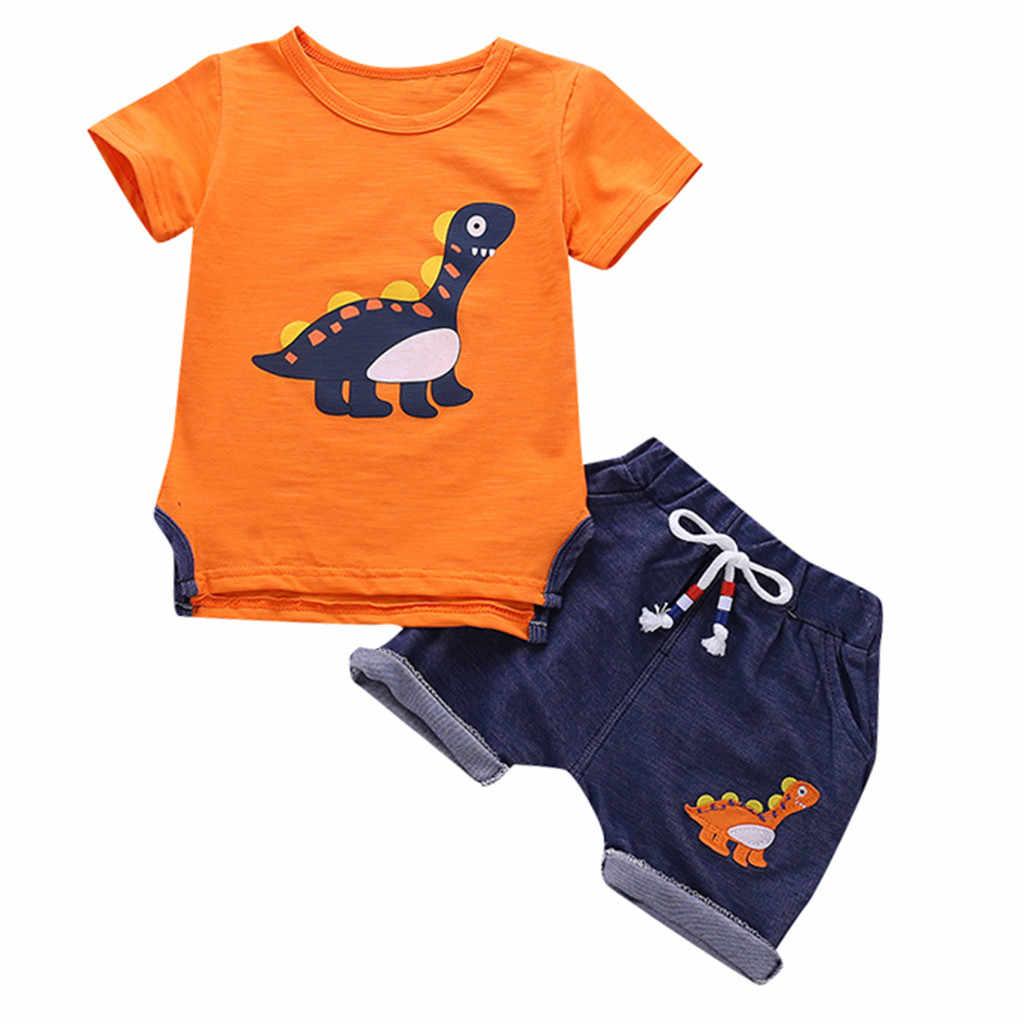 صيف 2019 طفل الفتيان الأطفال دعوى طفل الفتيان الاطفال قصيرة الأكمام ديناصور الكرتون رياضية ملابس رياضية مجموعات الملابس دروبشيبينغ
