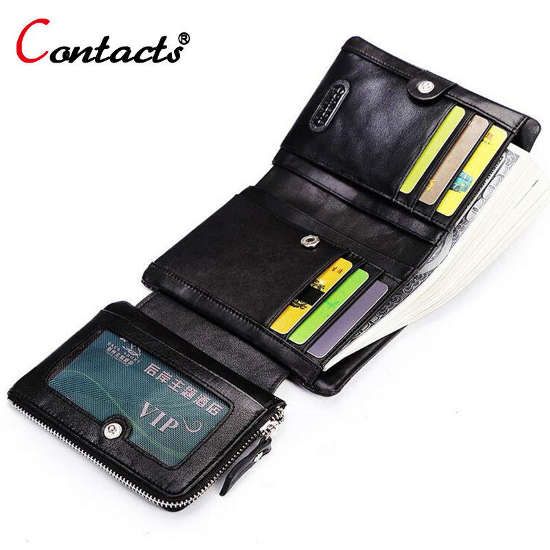 CONTACT'S Long Genuine Leather Men Wallets Male Purse Coin ID Credit Card Holder Phone Man Clutch Bags Money Small Perse Black high quality zipper coin leather women wallets purse female clutch bag money credit card holder phone bags k108