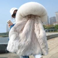 Women Winter Soft Warm Demin Jacket Natural Fox Lined with Fox Fur Collar Park Coat Fashion Jacket Winter Warm FUR Coat