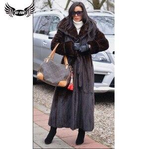Image 4 - BFFUR 2020 New Arrival Real Mink Fur Coat Winter Warm Outerwear 120cm Long Genuine Mink Fur Jackets With Hood Warm Coats Woman