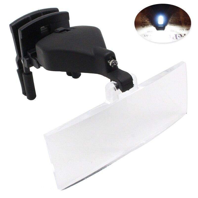 1.5X 2.5X 3.5X Iluminado Multipower Iluminado Eye Glasses Lupa com Clipe Terceira Mão Lupa Lupa para Baixa Visão