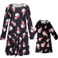 Mother Daughter Dresses 2016 Christmas Snow Men Reindeer Print Dress Family Matching Outfits Blue Red Black 2-7 Years S-2XL GD81