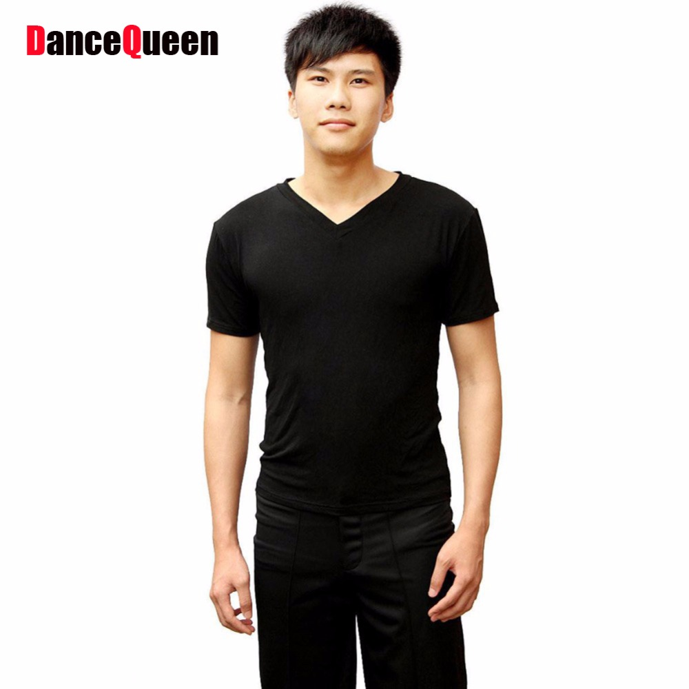 Man Latin Dance Dress V-Neck Tight Black Tango/Samba/Rumba/Ballroom Dance Tops Short Sleeves Dance Clothes For Men Latin Shirts