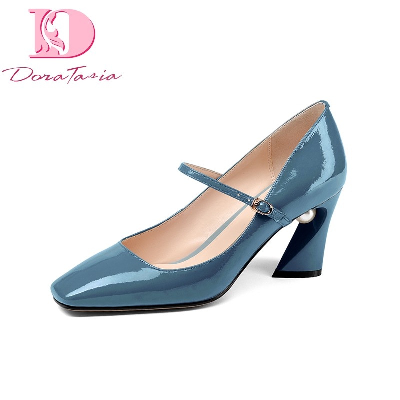Doratasia New Mary Janes Genuine Leather Square High Heels Buckle Strap Shoes Woman Concise Spring Pumps Big Size 33-43 xiaying smile woman pumps shoes women mary janes british style fashion new elegant spring square heels buckle strap rubber shoe