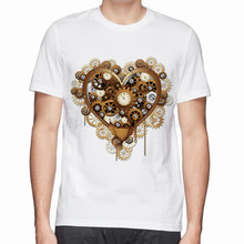 NEW Interesting Steampunk Heart Love Vintage pattern Watches and clocks cotton t-shirt man tops tees men cotton t shirt