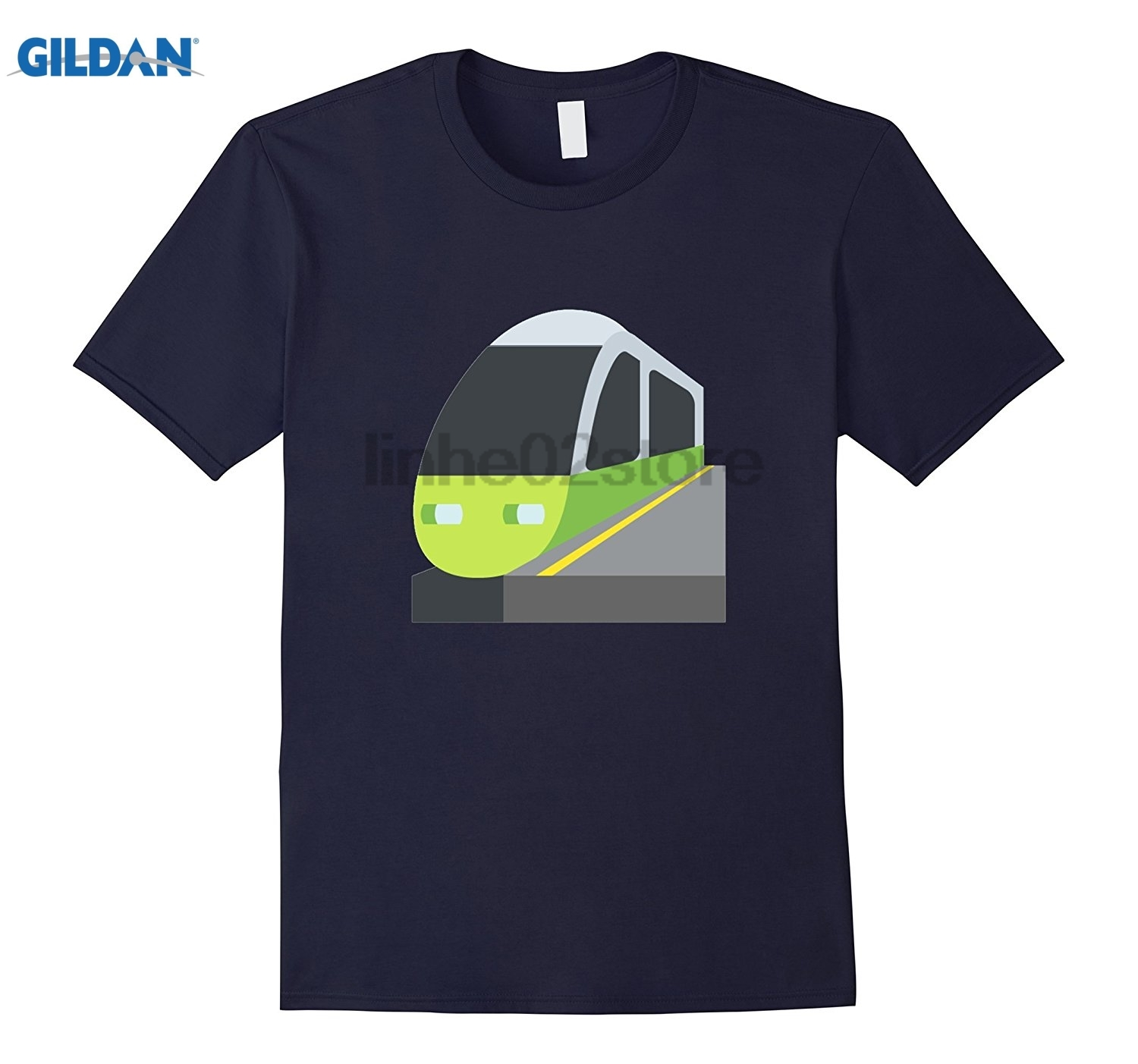 GILDAN Train Station Emoji T-Shirt Track Rail Subway Track Crossing glasses Womens T-shi ...