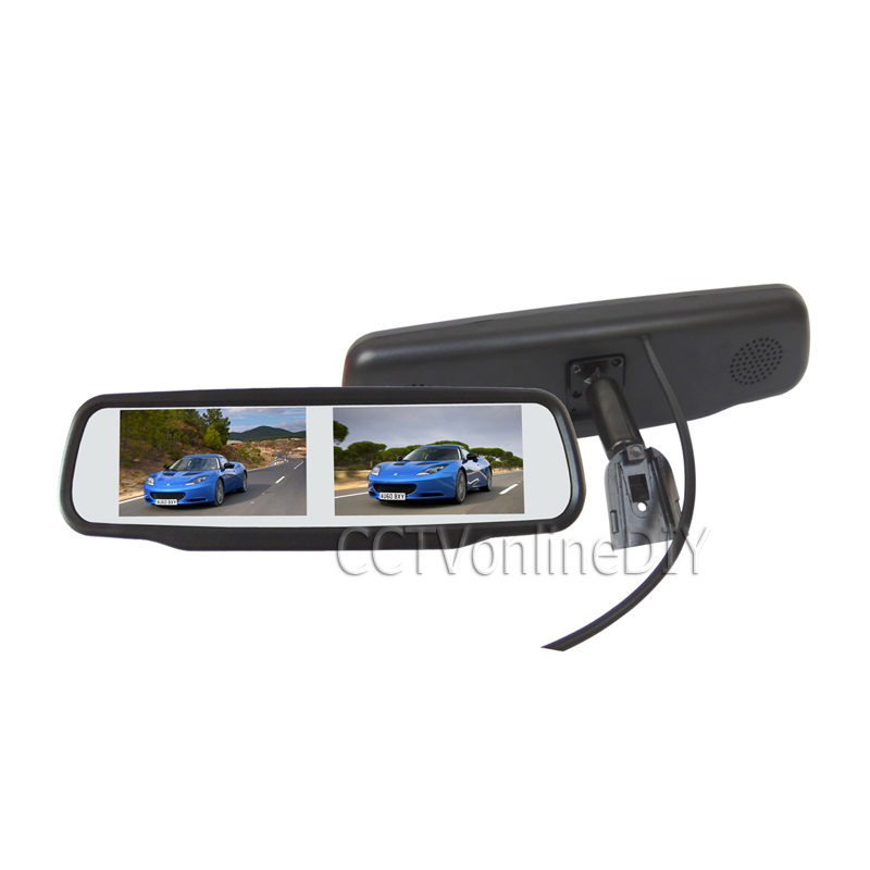 ANSHILONG 4.3 TFT LCD Two Dual Screen Display Car Rearview Mirror Monitor w/ Special Bracket 4CH in