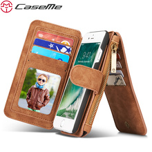 Caseme Телефонные Чехлы для iPhone 6 6 плюс 6 S 6 S плюс люкс Ретро кожаный на молнии многофункциональный 2 в 1 карты бумажник чехол
