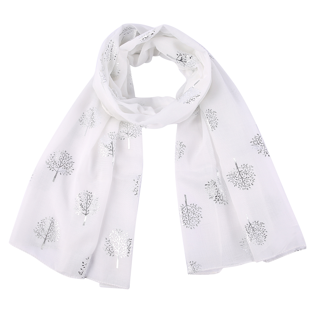 Winfox Fashion White Pink Foil Silver Tree Print Long Cachecol Hijab   Scarfs     Wraps   For Womens Ladies