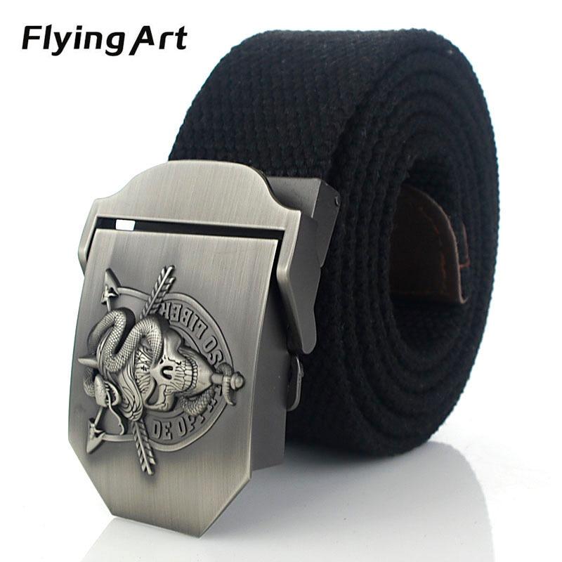 Terbang Art Unisex Skeleton snake kepribadian kanvas sabuk Sabuk - Aksesori pakaian - Foto 6