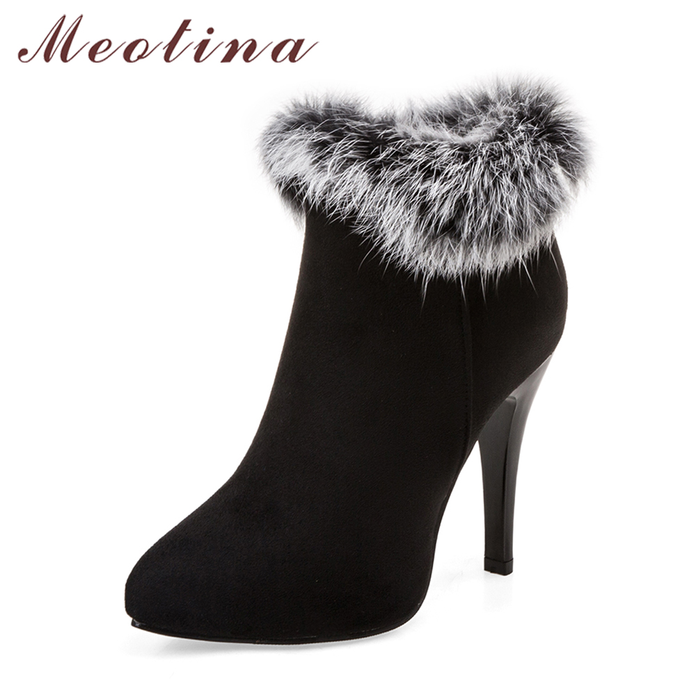 Meotina Sexy Women Boots Winter High Heels Ankle Boots Shoes Women Fall Ladies Short Boots Snow Fur Zip White Red Big Size 11 45