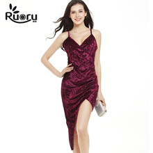Ruoru Sexy Summer Sheath Strap Women Velvet Dress Sundress Club Party Big Size Bodycon asymmetrical Dress robe femme vestido