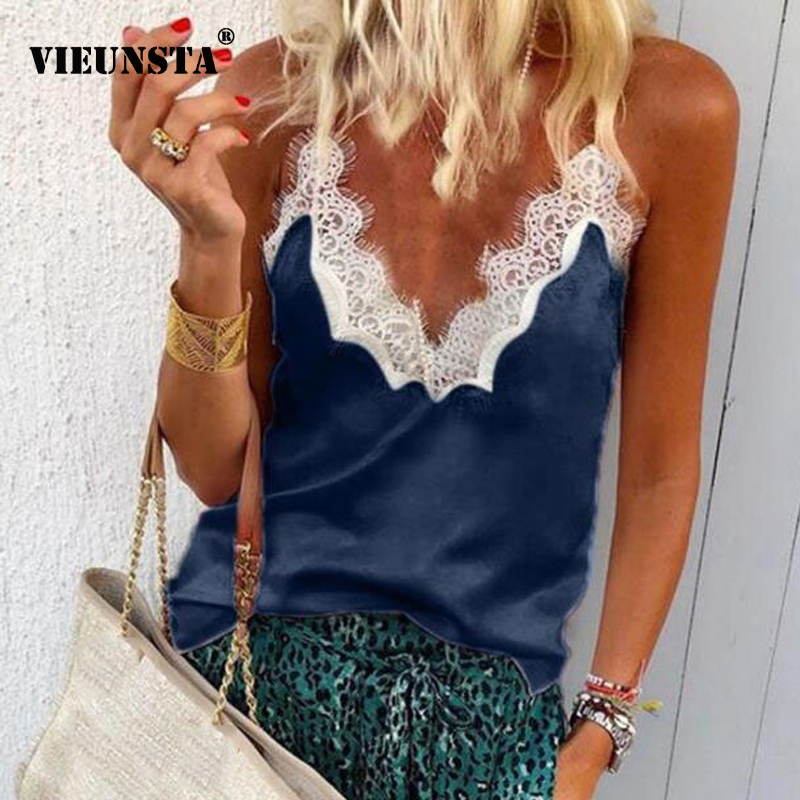 VIEUNSTA Sexy V-neck Lace Stitching Chiffon Blouse Women Shirt 2019 Fashion Sleeveless Strap Vest Blouses Summer Streetwear Tops