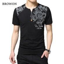 44da35feee457 2018 Dört Sezon Moda erkek T Gömlek Yaratıcı Mektup Baskı Düğme Henry Yaka  Kısa Kollu T-Shirt Erkek Üst & tee Elbise 5XL