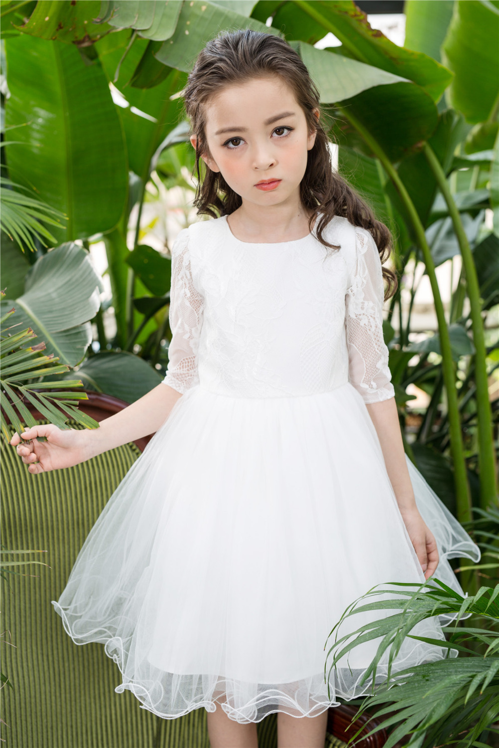 A-Line Princess Style Dress For First Communion Tulle Flower Girl Dresses For Weddding Lace Long Sleeve Girls Pageant Dresses недорго, оригинальная цена