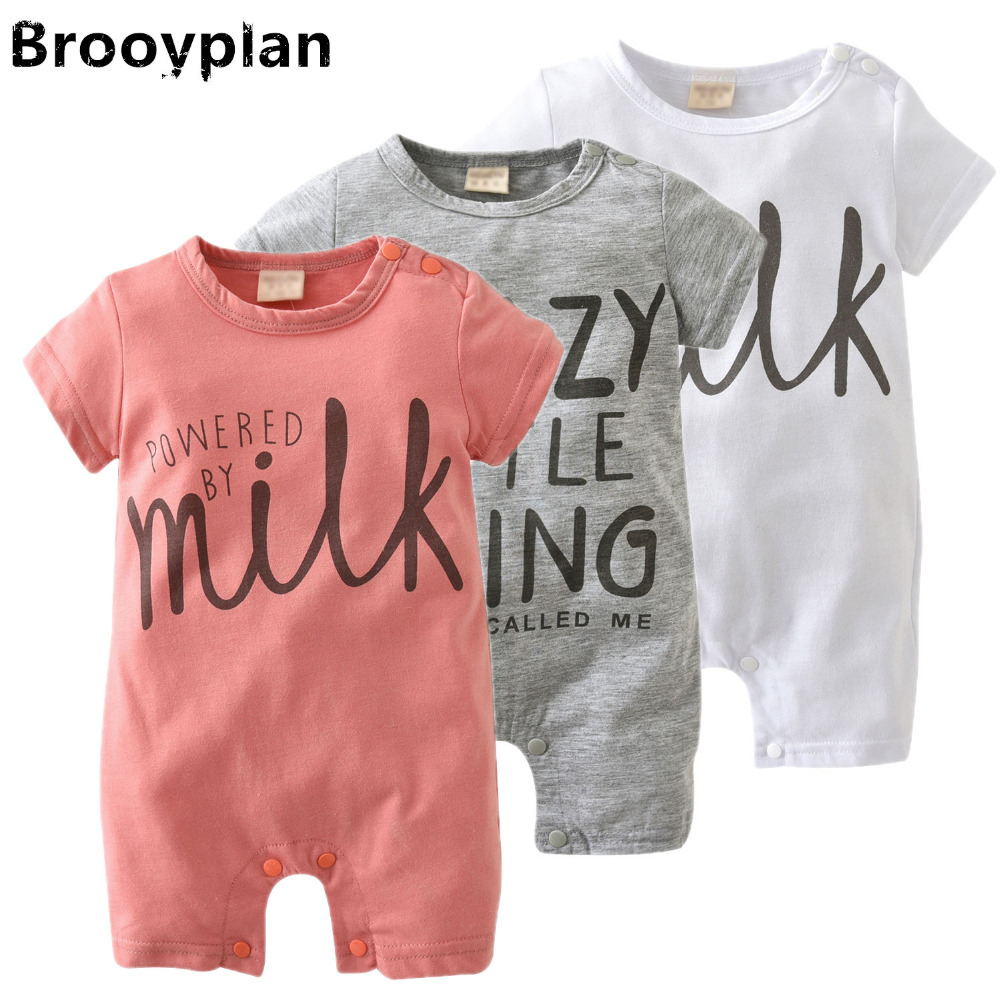 4b58c4805ab 2018 New style Newborns Baby Girls Boys Clothes Summer Short Sleeved Cute  Letter Toddler Jumpsuit Infant