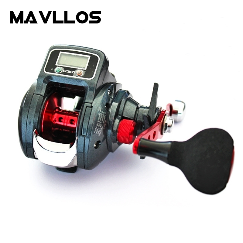 Mavllos Digital LED Display lure Bait casting Fishing Reel Left Right Hand Ratio Round EVA Knob