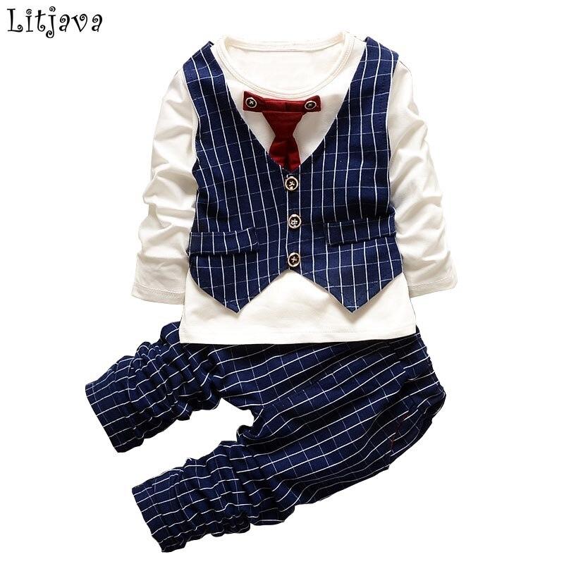 2PCS Baby Boy Drabužiai Gentleman Pavasario Ruduo Vaikai Stripe Long - Kūdikių drabužiai - Nuotrauka 1
