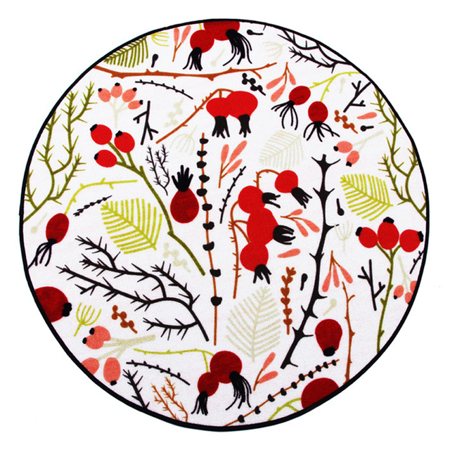 Cigi Round Floor Rugs Bedroom Mat Plant Flowers Printed Carpets Non Slip Rug Small Durable Foot All Age