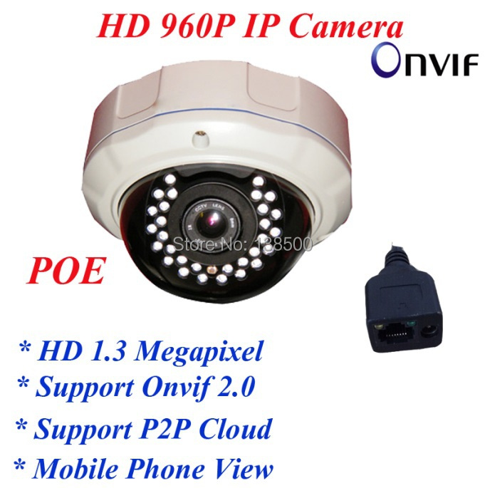 ФОТО Free Shipping Wholesale 1.3MP 960P IP Dome Camera Network Security ONVIF Indoor 30IR Night Vision Metal with POE