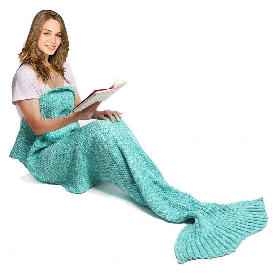 CAMMITEVER 32 Couleurs Doux Tricoté Sirène Queue Couverture Crochet Couvertures Faites À La Main pour Enfants Adulte Toute La Saison D'anniversaire Cadeau