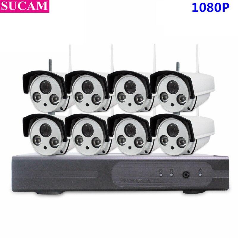 SUCAM CCTV sistema 1080 p 8CH HD inalámbrico Kit de visión nocturna cámara IP Wifi CCTV Cámara Kit sistema de seguridad video Vigilancia