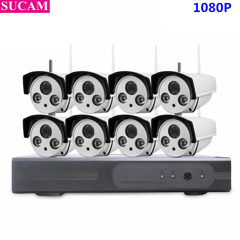 SUCAM Sistema CCTV 1080 P 8CH HD Wireless Kit di Visione Notturna Telecamera ip Wifi CCTV Camera Kit di Sicurezza Domestica Sistema Video sorveglianza