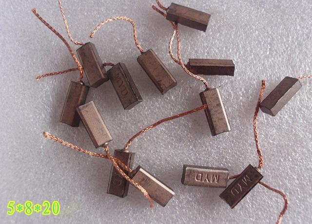 10 piunids/lote generador eléctrico cepillos de carbono alternador herramienta eléctrica genérico regulador de coche alto cobre (5*8*20 mm)