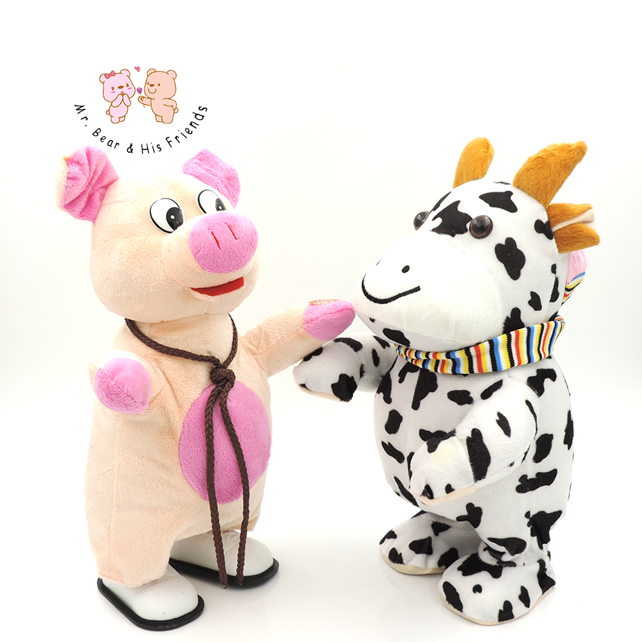 Walkable Singing Cartoon Animal Pig/Cow/Deer Stuffed Interactive Toy Plush Figure Battery Operated Baby Kids Toys Children Gifts funlock duplo blocks toys farm animal figures bunny cat dog cow pony pig sheep rooster educational toys for kids gifts