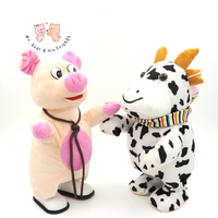 Walkable Singing Cartoon Animal Pig/Cow/Deer Stuffed Interactive Toy Plush Figure Battery Operated Baby Kids Toys Children Gifts