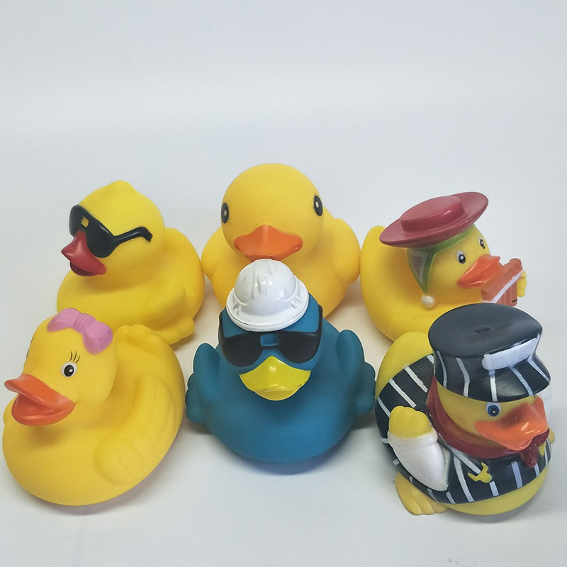 6pcs the baby pinched the toy duck big yellow duck /clarinet duck/sunglasses duck boys and girls can play with toys