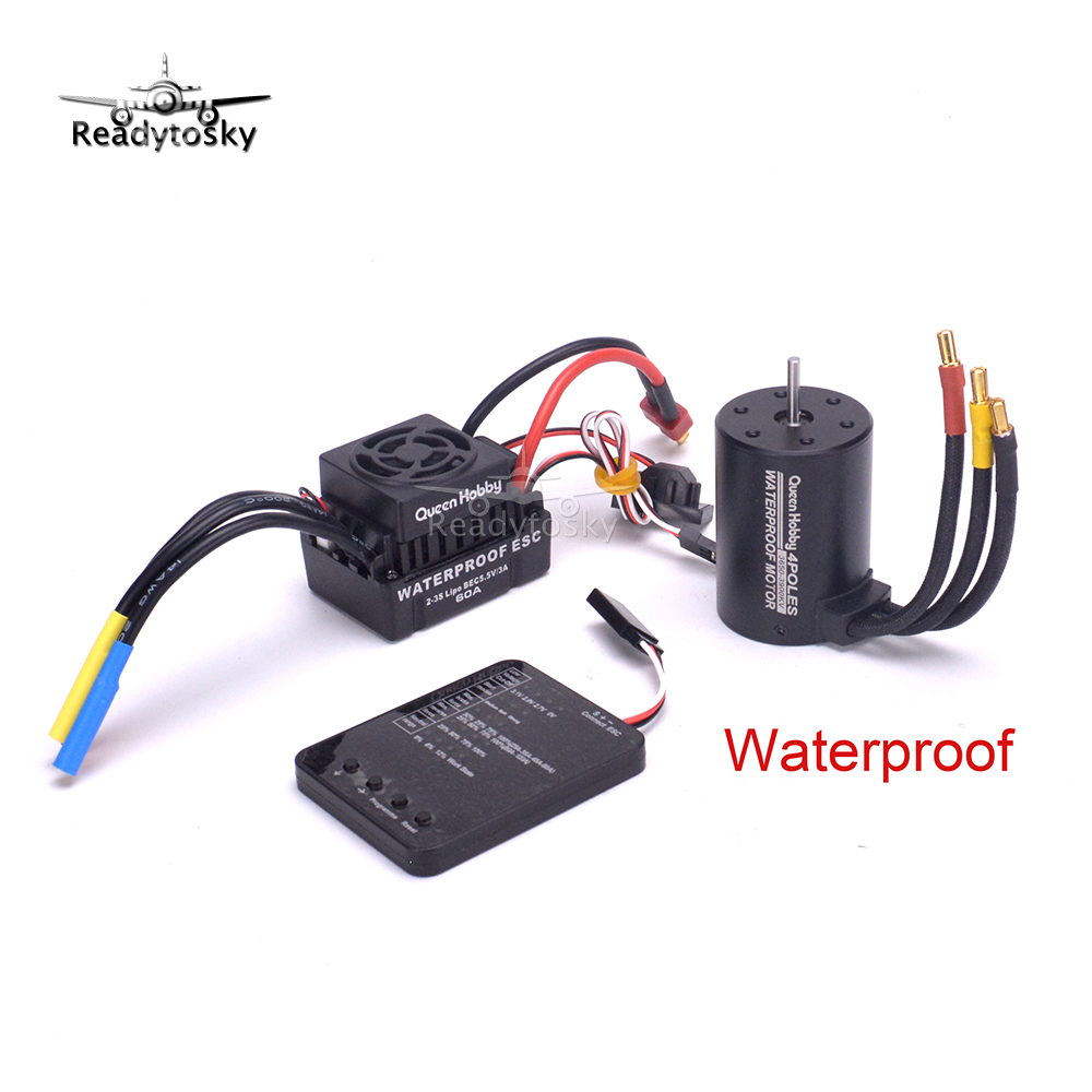 NEW Upgrade Waterproof 3650 3900KV RC Brushless Motor + 60A ESC + Programmer Combo Set  for 1/10 RC Car Truck Motor kit hobbywing ezrun max8 v3 t trx plug waterproof 150a esc brushless esc 4274 2200kv motor led program card for 1 8 rc car crawler
