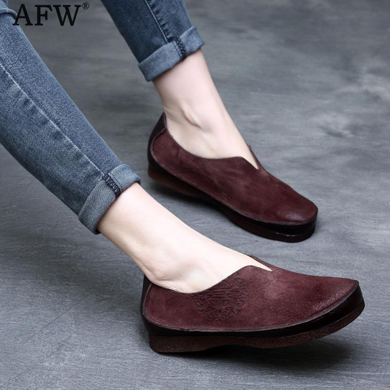 AFW Embroidery Women Loafers Soft Leather Spring Shoes Women 2018 Low Heel Flats Genuine Leather Women Moccasin Handmade Shoes handmade women loafers round toe genuine leather flats female soft moccasin gommino breathable boat shoes chaussure xk052506