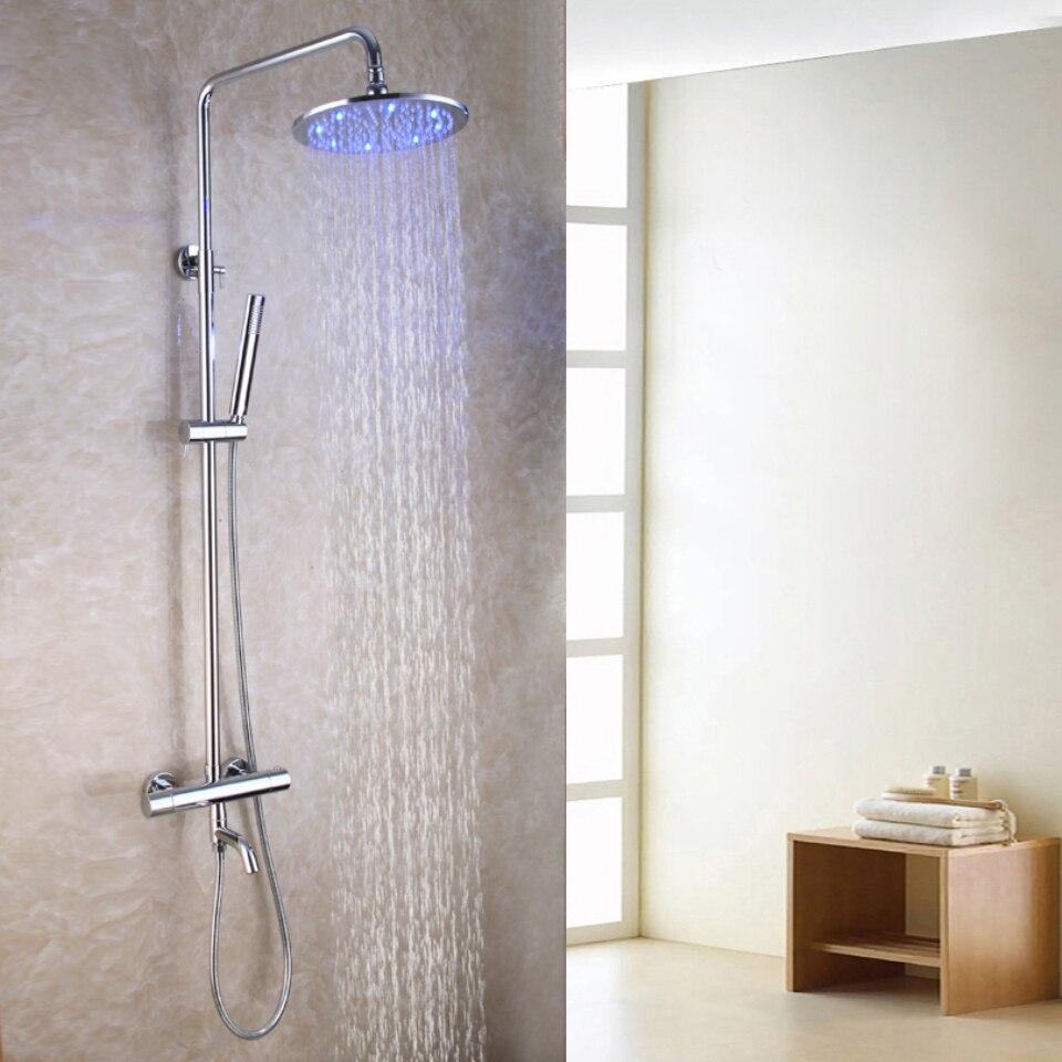 Bec de baignoire en laiton 10 pouces rond LED sensible à la température pomme de douche thermostatique exposé bain douche robinet ensemble