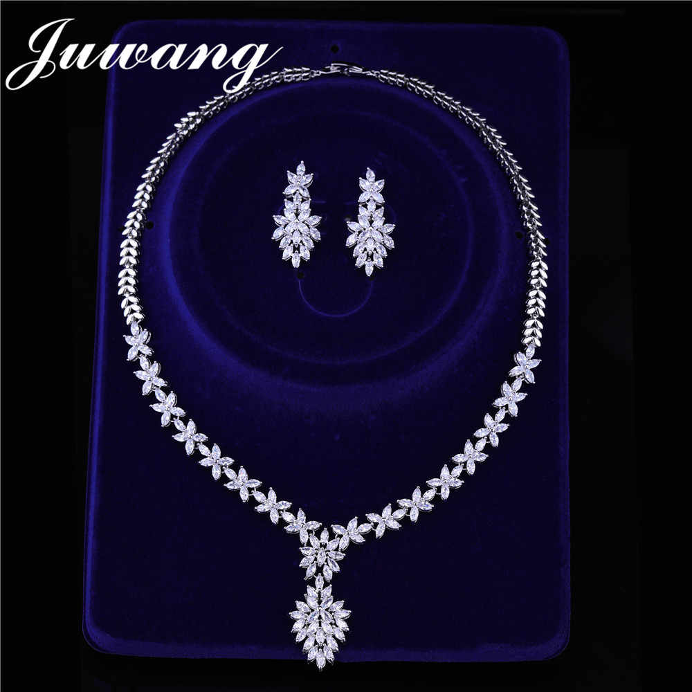 JUWANG Brand Clear Big Water Drop Leaf  Pendant  for Women Bride Luxury Full Cubic Zircon Necklace Set Party Jewelry Sets
