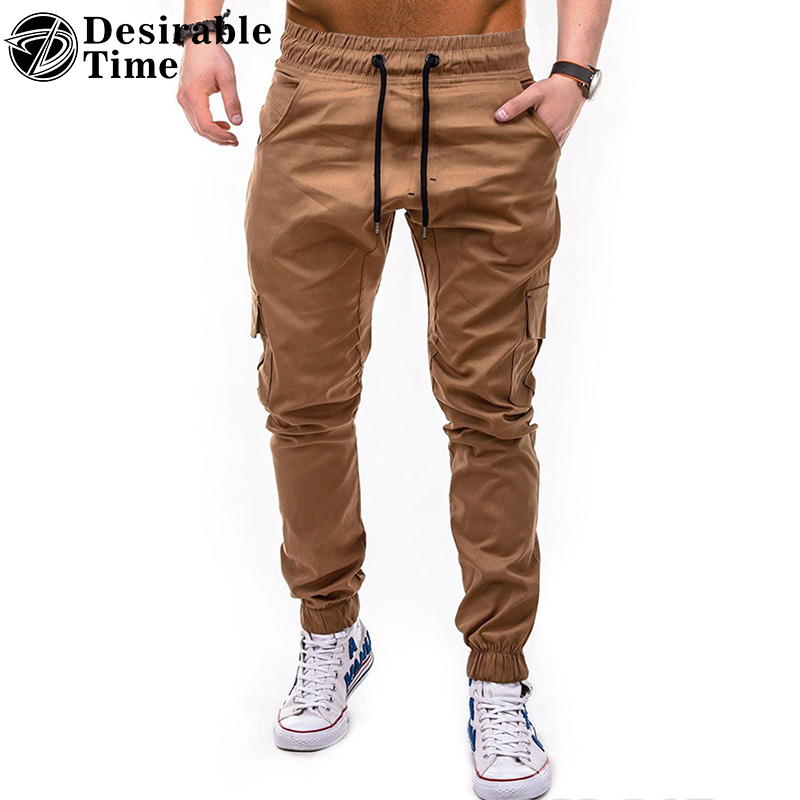 2018 High Quality Men Khaki Causal Pants Fashion Cargo Pants Autumn Drawstring Streetwear Trousers Men DT503