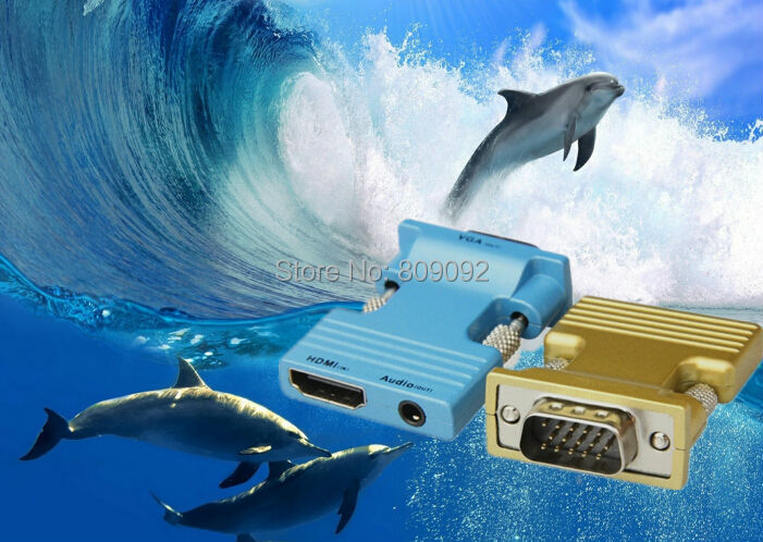 HDMI Female to VGA Male Converter with Audio Adapter Support 1080P Signal Output for PC laptop to HDTV Projector