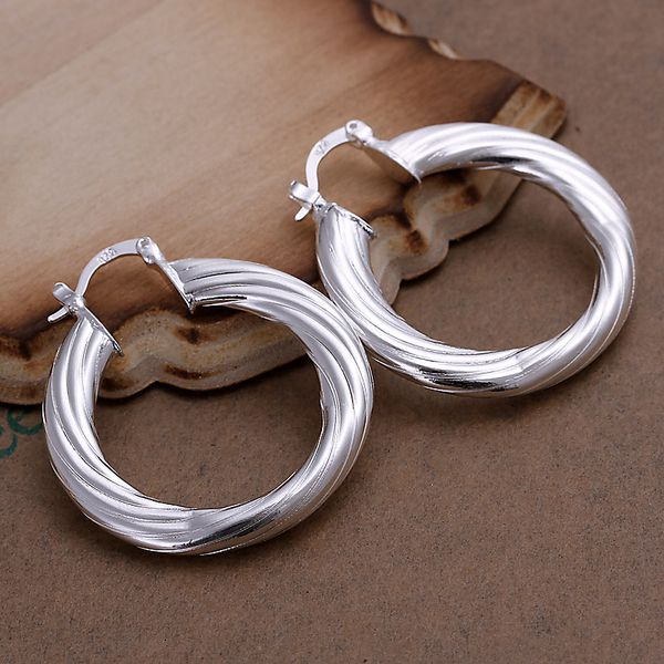 silver plated earrings fashion jewelry earrings beautiful earrings high quality Twisted Line Earrings mo pd