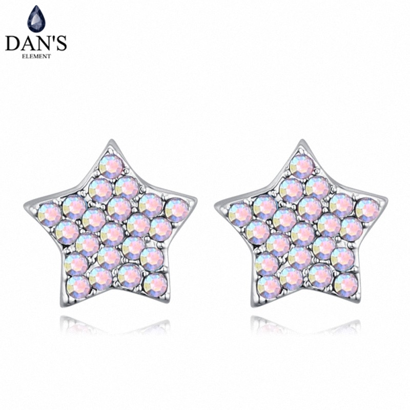 DANS 6 Colors Real Austrian crystals Stud earrings for women Earrings s New Sale Hot Round 128698