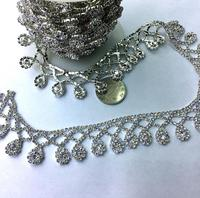 1 Yard Sparkle Rhinestones Waterdrop Pendant Tassel Flatback Ribbon Chain Trim For Sewing Craft Diy