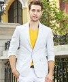 2017 Trajes de Moda Traje de Hombre de Negocios de Ocio De Los Hombres Un Botón Blazers Blancos ropa Informal traje de Chaqueta Masculina